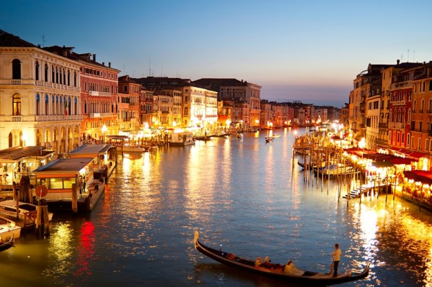Beautiful Grand canale at dusk in Venice. View from Rialto Bridge