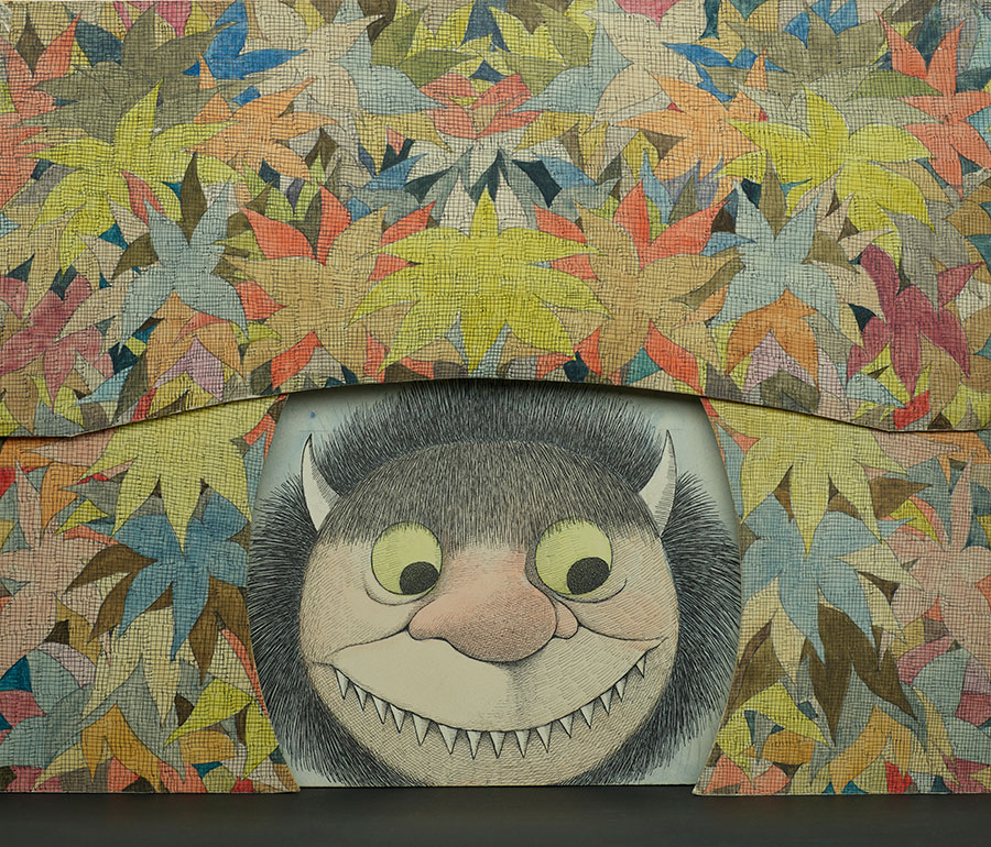 Maurice Sendak (1928-2012), Diorama of Moishe scrim and flower proscenium (Where the Wild Things Are), 1979-1983, watercolor, pen and ink, and graphite pencil on laminated paperboard. © The Maurice Sendak Foundation. The Morgan Library & Museum, Bequest of Maurice Sendak, 2013.103:69, 70, 71. Photography by Graham Haber, 2018.