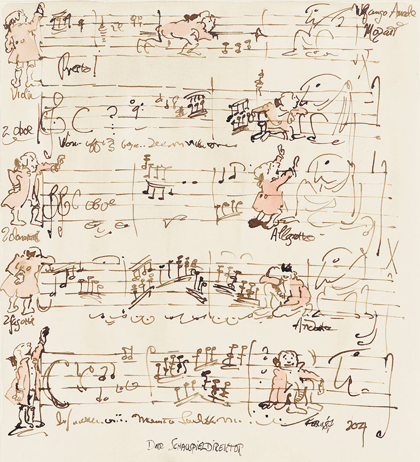 "Sendak, Maurice, Fantasy Sketch (Mozart, ""Der Schauspieldirektor""), 1987, Collection of the Maurice Sendak Foundation, Digital image courtesy of The Morgan Library & Museum, Photography by Graham S. Haber, 2019."