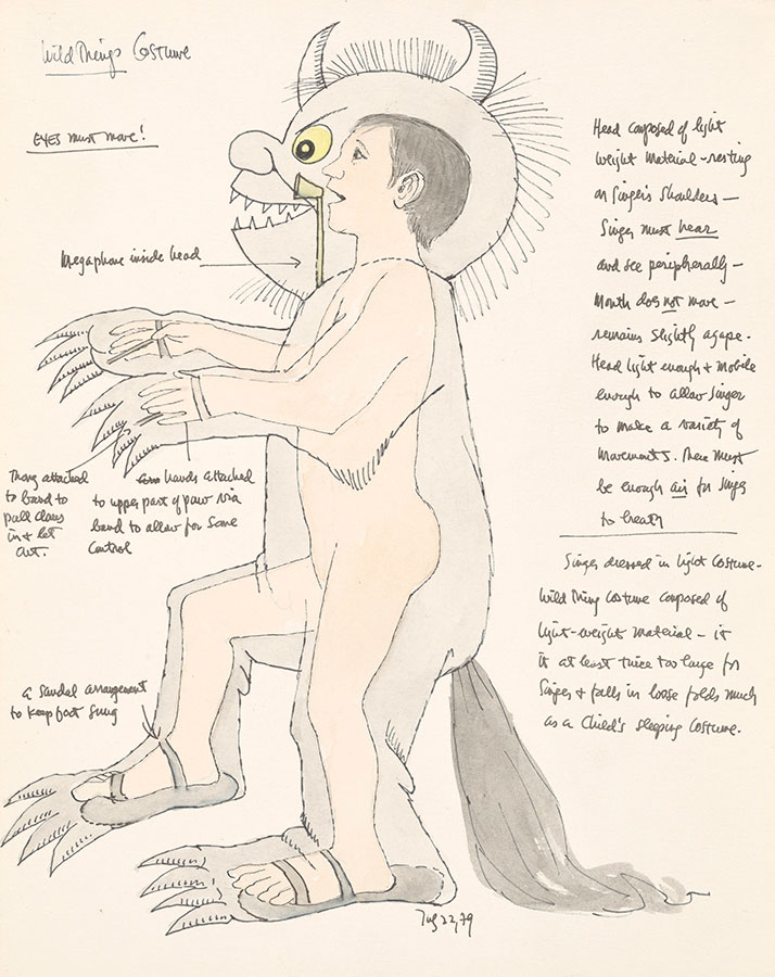 Maurice Sendak (1928-2012), Study for Wild Things costume, with notes (Where the Wild Things Are), 1979, watercolor, pen and ink, and graphite pencil on paper. © The Maurice Sendak Foundation. The Morgan Library & Museum, Bequest of Maurice Sendak, 2013.103:19. Photography by Janny Chiu.